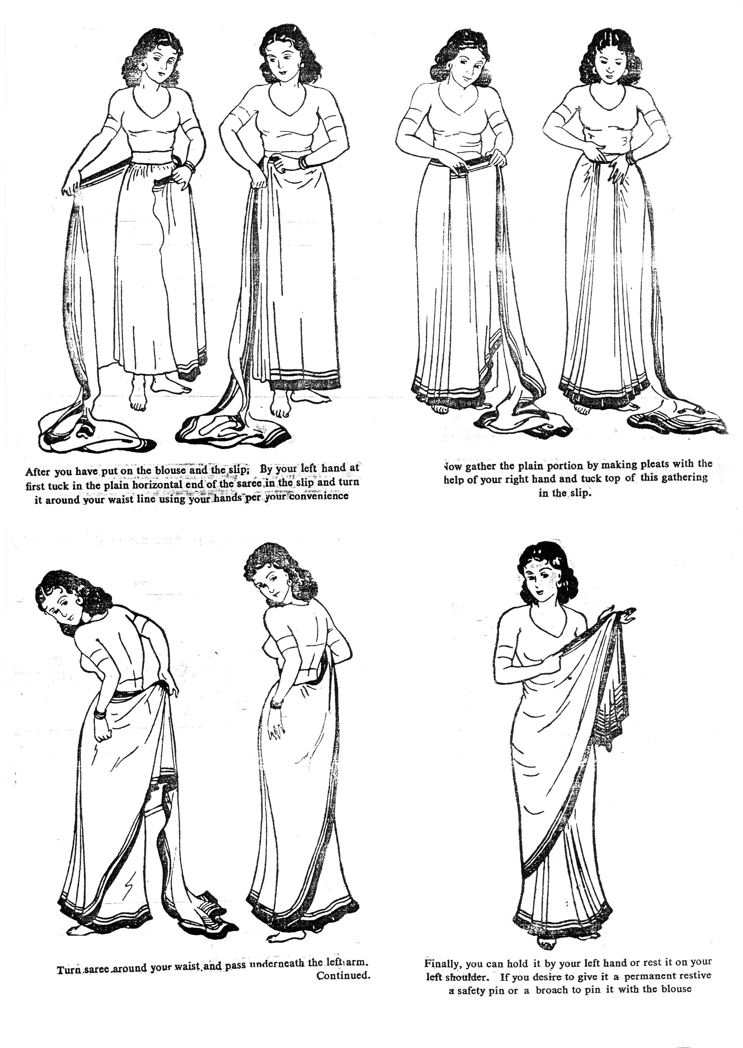 sari anziehen
